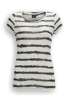 Geweven T-shirt met streeppatroon. Het T-shirt heeft een ronde hals en is gemaakt van 80% polyester en 20% viscose. #zomercollectie #zomerkledingdames #zomerkleding