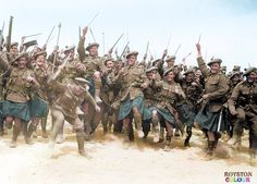 "#WW1ColourisedPhotos .....  ""Rare and fascinating image of a South African fighting regiment in World War 1. Here South Africans from the 4th Regiment 'South African Scottish' perform a traditional 'African Tribal War Dance' with drawn bayonets and dancing in their distinctive 'Murray of Atholl' tartan kilts."""