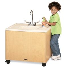 Jonti-Craft¨ Birch Clean Hands Helper W/Stainless Steel Sink - High New Kitchen Cabinets, Kitchen Sink, Portable Sink, Hand Washing Station, Preschool Furniture, New Countertops, Diy Kitchen Remodel