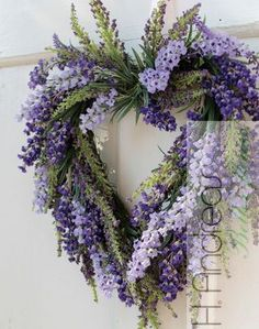 / beautiful wreath / - Lilly is Love Lavender Decor, Lavender Crafts, Lavender Wreath, Lavander, Diy Wreath, Grapevine Wreath, Door Wreaths, Purple Wreath, Floral Wreath