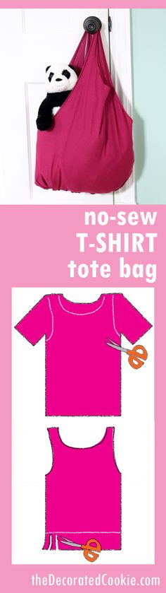 no-sew T-shirt tote bag EASY craft
