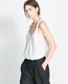 ZARA - WOMAN - CROSSOVER TOP WITH KNOTTED STRAPS