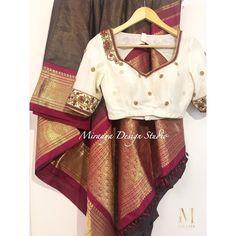 No photo description available. Blouse Back Neck Designs, Saree Blouse Designs, Blouse Patterns, Embroidery Patterns, Hand Embroidery, Green Blouse, Work Blouse, India Fashion, Saree Wedding