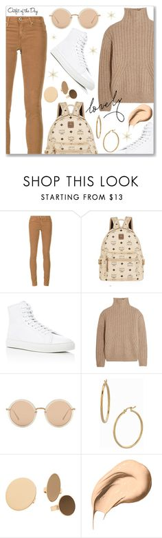 """""""Outfit of the Day"""" by dressedbyrose ❤ liked on Polyvore featuring AG Adriano Goldschmied, MCM, Common Projects, Totême, Linda Farrow, Bony Levy, MANGO, Bobbi Brown Cosmetics, Petit Bateau and ootd"""