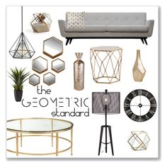 """""""The Geometric Standard"""" by overstock ❤ liked on Polyvore featuring interior, interiors, interior design, home, home decor, interior decorating, Nearly Natural, gold, Home and homedecor"""