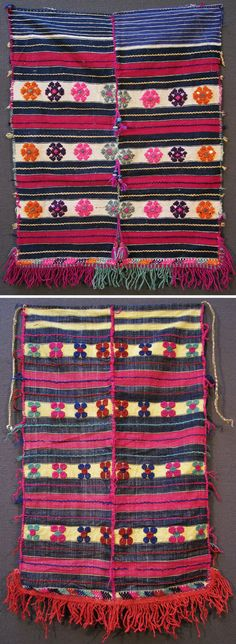Two traditional 'önlük' (apron) for women, from the Dursunbey district (80 km to the East of Balıkesir), ca. mid-20th century. Part of a rural festive costume. Cotton, with small woven (stylized flowers) motifs in wool (weaving technique: cicim/jijim). The top one is adorned with tassels (wool, cotton, orlon), ring-shaped glass beads and metal sequins. Both have their downside edged with woollen fringes. (Inv.n° önL126&129 - Kavak Costume Collection-Antwerpen/Belgium).