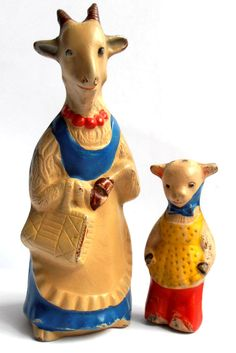 1930s USSR Early Russian Soviet SOUND Rubber Toys GOAT FAMILY RARE