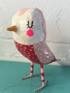 Pink bird // bird sculpture  // paper mâché bird // art doll by SarahHandArt on Etsy