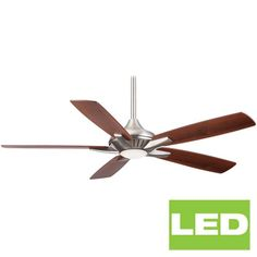 """MinkaAire Dyno 52"""" 5 Blade Indoor Ceiling Fan with Integrated LED Light Kit and Remote  in Brushed Nickel Full Size"""