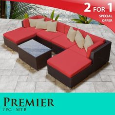 """Premier Outdoor Wicker 7 Piece Patio Set Spice Red Covers -07B by TK Classics. $1499.00. Fully Assembled - ready to relax and enjoy. """"No Sag"""" solid wicker bottoms with extra flexible strapping providing long-lasting suspension. Versatile design for ANY patio size. Affordable and comfortable Modular Furniture allows for endless arrangement possibilities. 4"""" Welted cushions for a luxurious look and feel. 2 for 1 Special: Purchase 1 of our Classic Patio Sets and receiv..."""