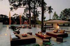 The roof terrace at Amansara, one of the most luxurious hotels to retreat to after a long day of exploring the Angkor temple complex in Cambodia