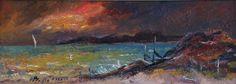 Vintage Mid Century Framed Seascape Oil Painting Fine Art Original from Sweden