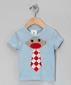 Take a look at the Million Polkadots Blue & Red Argyle Sock Monkey Tie Tee - Infant, Toddler & Boys on #zulily today!
