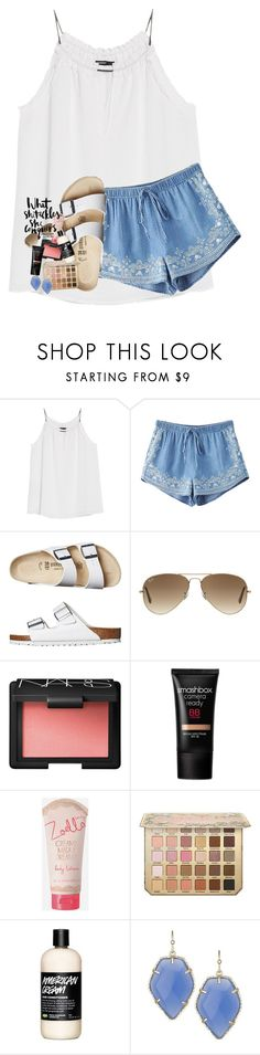"""""""& they'll tell you now you're the lucky one"""" by lindsaygreys ❤ liked on Polyvore featuring MANGO, Chicnova Fashion, Birkenstock, Ray-Ban, NARS Cosmetics, Smashbox, Zoella Beauty and Kendra Scott"""