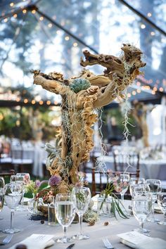 Branch Centerpiece + Succulents | Photography: Sallee Photography. Read More:  http://www.insideweddings.com/weddings/rustic-chic-lakeside-wedding-with-geometric-details-in-california/843/
