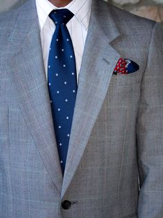 Gray suit and polka dot tie.  I do recommend investing in a few polka dot ties if you are stuck in the stripped tie lane.
