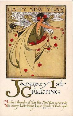 Happy New Year / art nouveau Vintage Greeting Cards, Vintage Christmas Cards, Christmas Images, Vintage Ephemera, Vintage Holiday, New Year Wishes, New Year Greetings, New Year Card, Christmas Greetings