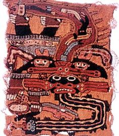 This weaving was made by the Nazca people of what is now coastal southern Peru. The Nazca culture attained its height between 200 BC and AD 600. The pre-Columbian cultures of the Andes made exquisite textiles, which often depicted mythical stories and were sometimes used as markers of status by their owners.