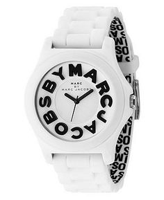 Marc by Marc Jacobs Watch, Women's Sloane White Plastic Strap MBM4005 - Marc by Marc Jacobs - Jewelry & Watches - Macy's