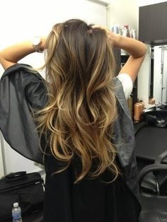 Ombre hair. This is the kind of blonde I want for my highlights if it will work for my skin tone. Not really ashy, but a little toned down on the warmth compared to what i have now.