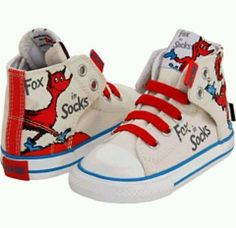 Converse 10 toddler Dr Seuss Fox in Sox velcro no time to lace shoes high tops