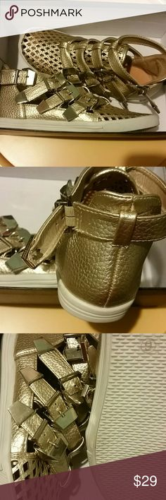 NYLA size 6 sneakers Champagne color with buckle closure never worn nyla Shoes Athletic Shoes