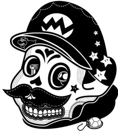 Because we love skulls, the Day of the Dead and Mario, here's Johnathan Koshi's delightful Mario sugar skull. Mario Bros, Mario Brothers, Dessin Old School, Sabre Laser, Sugar Skull Art, Sugar Skulls, Handpoke Tattoo, Frida Art, Sweet Station