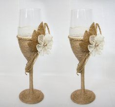 Wedding  Glasses  Rustic Wedding Champagne Glasses by superlunary