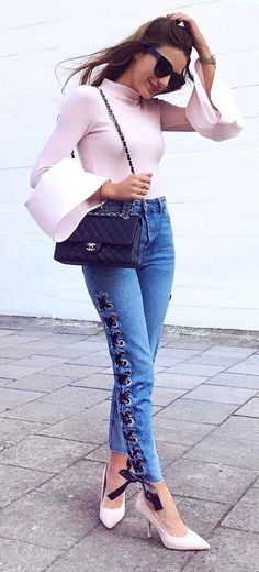 cool outfit: top + bag + heels + jeans