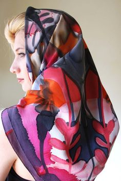 """Image of """"Butterfly"""" hand-painted silk scarf by Asta Masiulyte"""