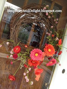 """I redid my front door wreath this past week:      I like the colors, but thought that the s traw wreath  was a little too """"kitschy"""".  Also,..."""
