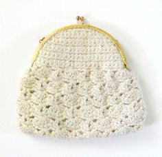 Vintage 1950s Crochet Gold Frame Clutch by LiliesValleyVintage, $23.00