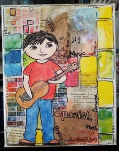 Collage Art Mixed Media, Mixed Media Canvas, Guitar Boy, Collage Background, Flower Canvas, Star Art, Music Mix, Colorful Decor, Great Artists