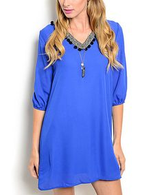 Love this Royal Geometric Shift Dress on #zulily! #zulilyfinds