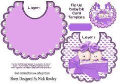 Double trouble cute twin baby girls in purple on a bib on Craftsuprint - Add To Basket!