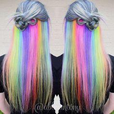 Arcoíris escondido | 21 Colores atrevidos que te inspirarán a teñirte el cabello en 2016