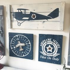 VINTAGE AIRPLANE wall decor, 3 pc set, boys vintage airplane decor, wood airplane sign, wood airplane wall art, pilot decor, aviation sign by WoodstockRustic on Etsy https://www.etsy.com/listing/504940471/vintage-airplane-wall-decor-3-pc-set