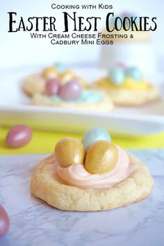 Easy Easter Nest Cookies to Cook with Kids. With cream cheese frosting and cadbury mini eggs Cream Cheese Cookies, Make Cream Cheese, Cream Cheeses, Baking Recipes, Cookie Recipes, Baking With Toddlers, Baking Soda Teeth, Thumbprint Cookies Recipe, Easter Recipes