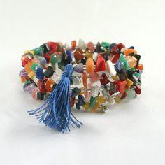 Beaded Tassel Bracelet, Memory Wire, Czech Beads, Boho Chic, Bohemian Hippie, Rainbow Jewelry, Colorful Jewelry, Wrap Bracelet