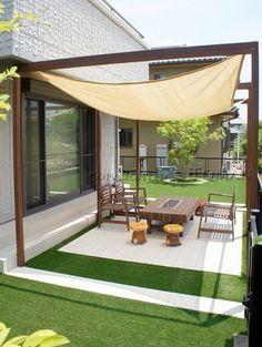 Iga City Artificial grass and BBQ garden Pergola, Backyard Pool Designs, Garden Furniture, Garden Design, Decoration, Exterior, Architecture, Outdoor Decor, Handmade