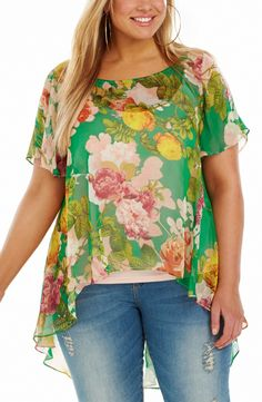 Romantic Print Top - Romantic Print Style No: T1450 Printed Chiffon Top. This flowy top has a flattering V back line shape. This Top features a scooped hemline on the back. This Top has loose fluttery bell sleeves. It comes with a matching Cami. #dreamdiva #dreamdivafiles #plussize
