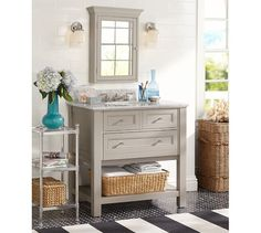 Like the GRAY COLOR  Classic Single Sink Console - Gray | Pottery Barn