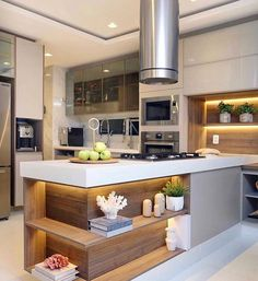 27 veces he visto estas lindas cocinas con isla. Luxury Kitchen Design, Kitchen Room Design, Home Decor Kitchen, Interior Design Kitchen, Kitchen Furniture, New Kitchen, Home Design Decor, Küchen Design, Brooklyn Kitchen