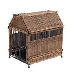Jeco Wicker Medium Dog House with Storage