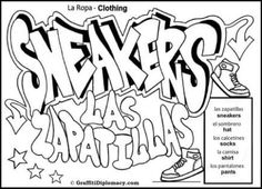 Graffiti Coloring Page - Spanish Language Free Printable - Zapatillos means sneakers in Spanish Coloring Book - Diagame Con Colores Spanish Basics, Spanish Lessons, Spanish Class, Spanish Words, How To Speak Spanish, Spanish Grammar, Learn Spanish, Spanish Language Learning, Teaching Spanish