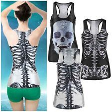 Women Tank Top Gothic Punk T-Shirt 3D Digital Sleeveless Vest Print Clubwear I5