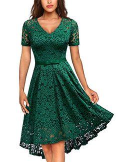 553d560e9564 MISSMAY Women's Classy V Neck Retro Lace Short Sleeve Cocktail Dress.  Orange Fluent · Green Dresses