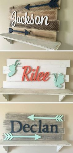 Love these custom baby name signs with arrows or butterflies. They would look so cute hanging up as nursery decor #baby #ad