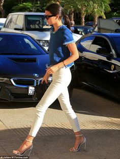 Kendall Jenner displays thin pins in white skinnies and stilettos #dailymail www.redreidinghood.com