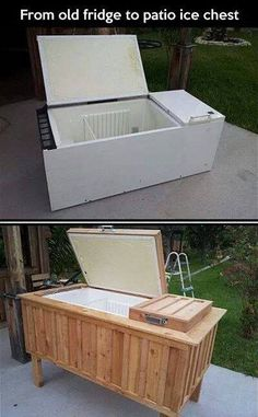 Old fridge turned into patio cooler